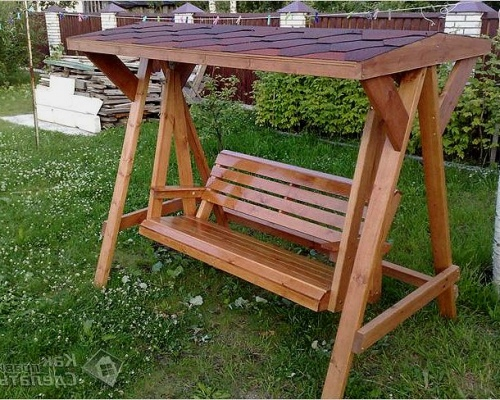 фото качели садовые деревянные